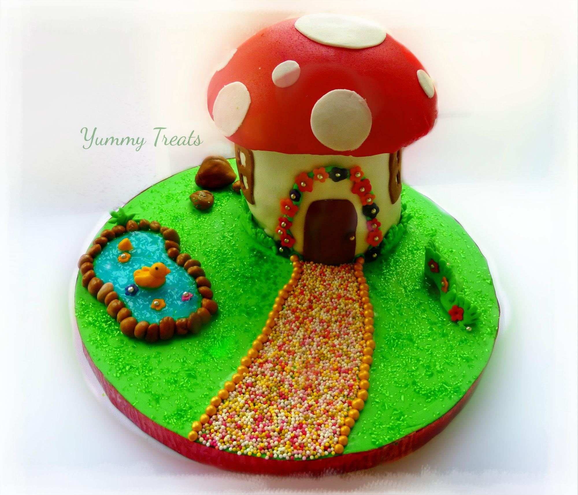 Toadstool / Mushroom Themed Birthday Cake